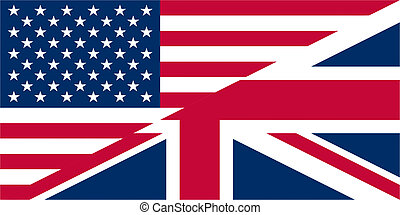 UK USA flags - Illustration of UK and USA flags interweaved