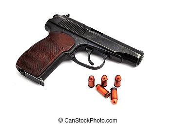 steel pistol and bullets - steel pistol and bullets on a...