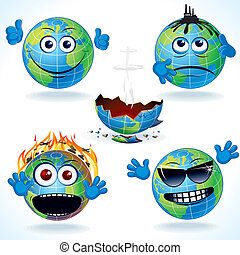 Cartoon Earth Icons #1 - Set #1. Funny Cartoon Planet Earth...