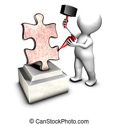 Concept of sculptor creating THE jigsaw piece (a missing piece)