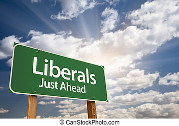 Liberals Green Road Sign and Clouds - Liberals Green Road...