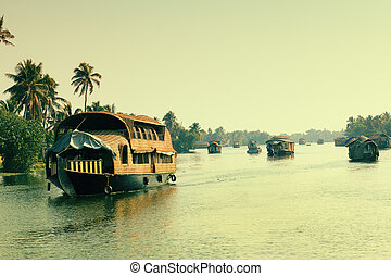 big houseboat - Picturesque tropical landscape with...
