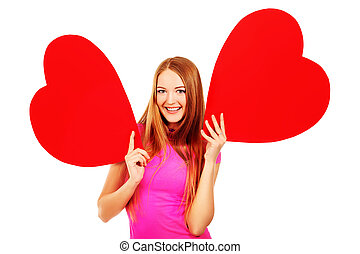 flirt love - Beautiful young woman posing with red hearts....