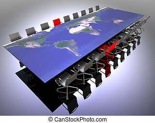 multinational meeting - 3d illustration of a table and...