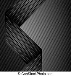 Metallic ribbons on gray corduroy background. Vector 10eps