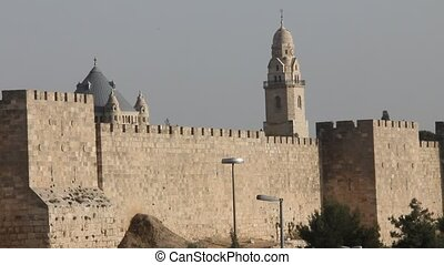 Jerusalem. Old town - Christian churchs and ancient walls of...