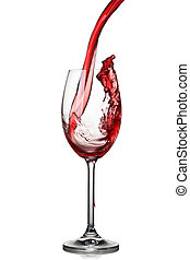 Splash of winein glass isolated on white - Splash of wine in...