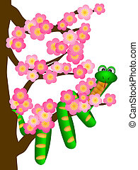 Chinese New Year Snake on Cherry Blossom Tree