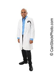 Doctor afro american whole body standing with shoes