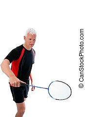 Senior with badminton racket