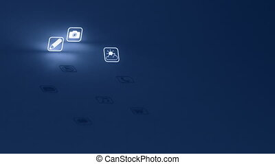 Glowing Mobile App Icons Blue - Two animations of generic...