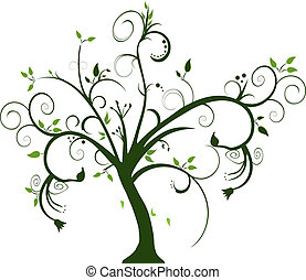 swirly tree on white background