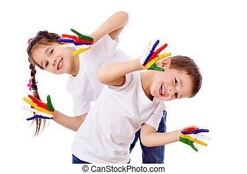 Happy kids with painted hands