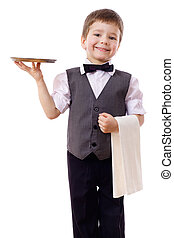 Little waiter with tray and towel - Little waiter standing...