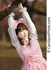 japanese lolita in nature - japanese lolita portrait in park...