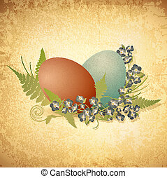 Easter vintage background with eggs and forget-me-not...