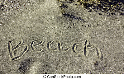 beach sand with the word written on it