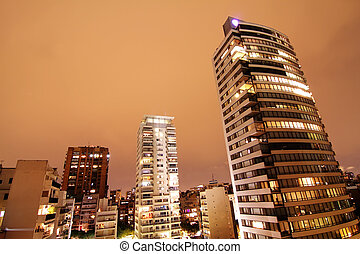 Skyline of Buenos Aires - Night view on the skyline of...