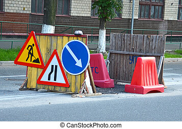 Some sign and boundary on construction road work