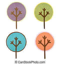 A collection of round cut out trees