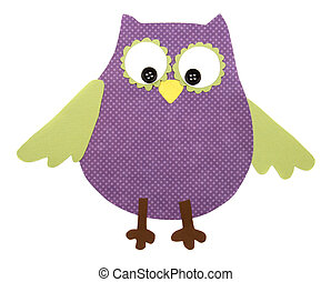 a paper cut out owl purple and green
