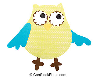 paper cut out owl - A colorful owl cut out of pape, isolated...