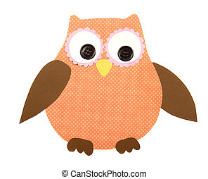 a paper cut out owl orange and brown - A colorful owl cut...