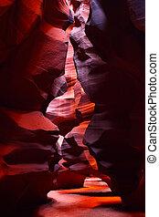 Narrow Walls of Antelope Canyon - Light travels through the...