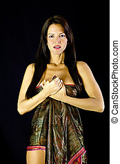 Beautiful Woman wearing a Body Wrap - Beautiful Woman...