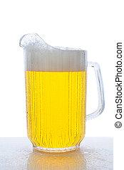 cántaro, cerveza, mojado, mostrador, cima
