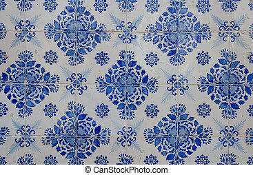 Blue pattern detail of Portuguese glazed ceramic tiles.