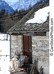 Mountain Hut - traditional Walser building in Formazza,...
