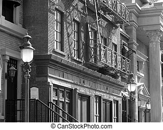 old buildings typical of the early 1920s and 1930s in the...
