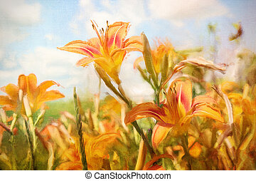 Digital painting of orange daylilies - Digital Painting of...