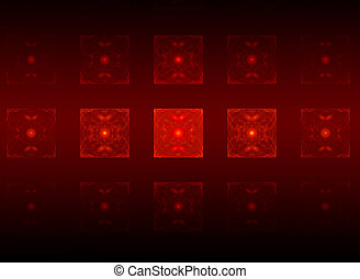 Power, abstract structures in red on a dark background -...