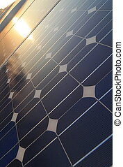 Solar cell Panel reflection sunlight and sunset
