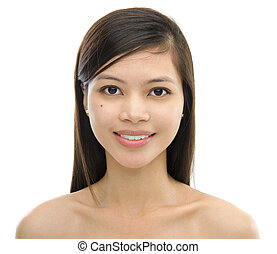 Mixed race Asian woman on white background