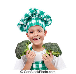 Happy chef with broccoli
