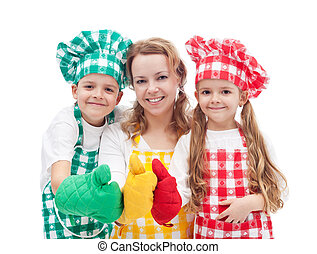 Colorful chefs - Colorful happy chefs with hats and aprons...