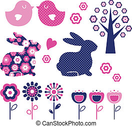 Spring and easter design elements set vector - Spring and...