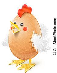 chicken egg handicraft vector illustration isolated on white...