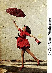 niña, rojo, Vestido, moscas, fecha, foto, viejo,...