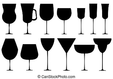 Set of black alcoholic glass.