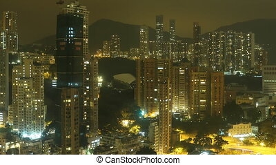 Time Lapse Hong Kong at Night. - Time Lapse Skyscrapers on...