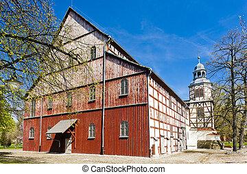 skogbevuxen, kyrka, Jawor, Silesia, Polen