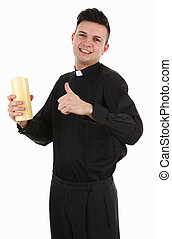 Priest with a candle, isolated on white