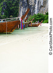 longtail boats, Andaman Sea - Tropical beach, longtail...