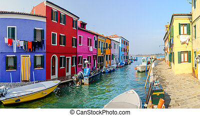 Colorful houses Burano Italy - Panorama of the colorful...