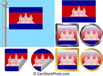 Flag Set Cambodia