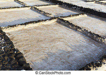 Close-up of a salt marsh - Close-up of a lava basin of the...